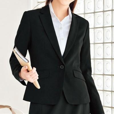 テーラードジャケット(事務服・前らく®選べる2丈・洗濯機OK)/ブラックA(ショート丈)/11AR
