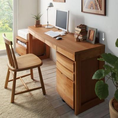 アルダー天然木 アールデザインデスクシリーズ デスク・幅160.5cm ダークブラウン