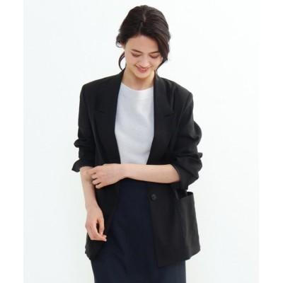 【インディヴィ】 リネン混オーバーデザインジャケット レディース ブラック 38(M) INDIVI