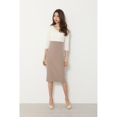 【リエンダ/rienda】 Stripe Tight Knit OP