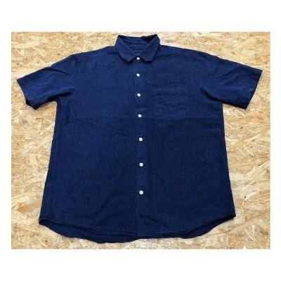 RAGEBLUE レイジブルー Sサイズ メンズ シャツ フレンチフロント レギュラーカラー 半袖 アクションプリーツ 無地 麻混紡 ネイビー 紺