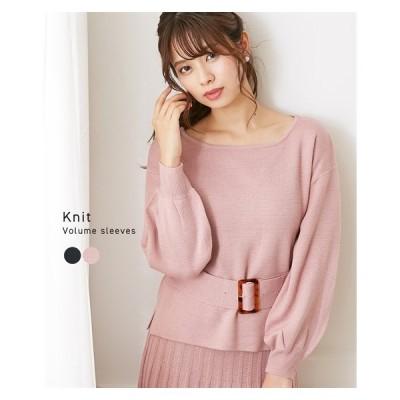 セーター ニット レディース ベルト使い かわいい ボリューム袖 セットアップ対応 冬 M/L ニッセン nissen