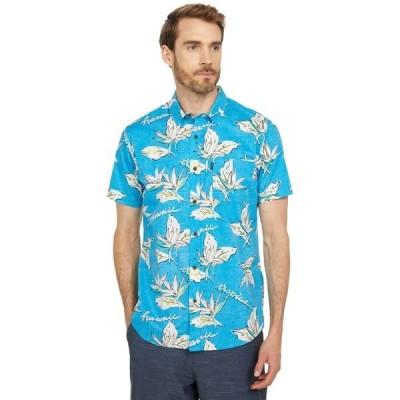リップカール シャツ トップス メンズ Hawaii Floral Short Sleeve Woven Blue