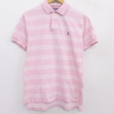 古着 ラルフローレン Ralph Lauren 半袖 ブランド ポロ シャツ メンズ 90年代 90s ワンポイントロゴ コットン 鹿の子 ピンク ボーダー L