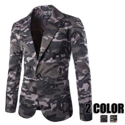 ブレザー テーラード メンズ 長袖 迷彩 ジャケット 迷彩柄 カジュアル コーデ ジャケット 30代40代50代 秋冬 2色