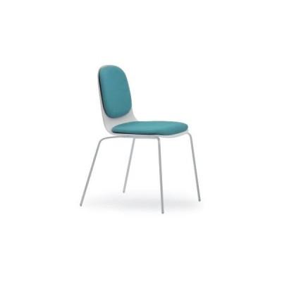 イトーキ      椅子 セッキオチェア フレーム W9 ホワイト 背座張地A2 ダルブルーグリーン KJM-140GC-W9A2