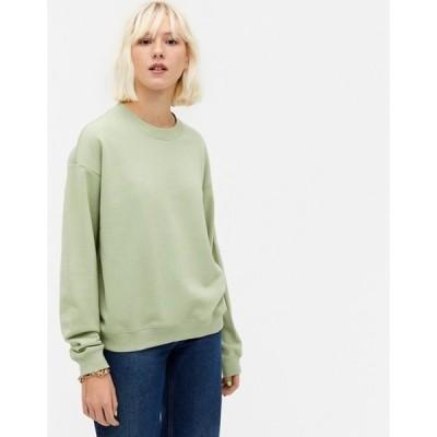 モンキ レディース シャツ トップス Monki Nana organic cotton sweatshirt in light green