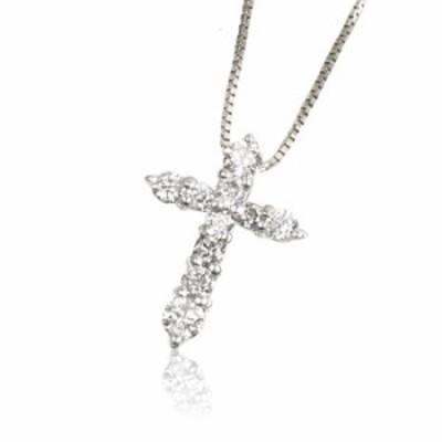 K18WG 0.2ctダイヤモンドクロス ネックレス