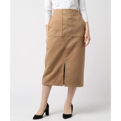 スカート フェイクウールミモレ丈タイトスカート