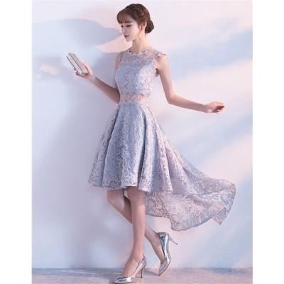 パーティードレス 結婚式 ドレス ショートドレス カラードレス ウェディングドレス 二次会ドレス 花嫁 ドレス  成人式  披露宴ドレス[グレー]