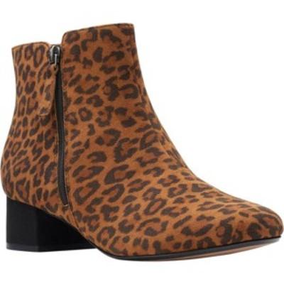 クラークス レディース ブーツ&レインブーツ シューズ Marilyn Beth Ankle Bootie Dark Tan Leopard Suede