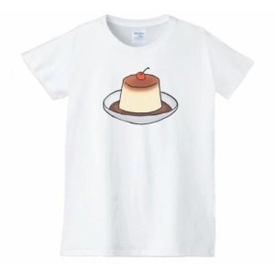 プリン レディース 食べ物 野菜 スイーツ Tシャツ 白