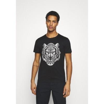 アンソニーモラート Tシャツ メンズ トップス SLIM FIT WITH DOUBLE LAYER - Print T-shirt - nero