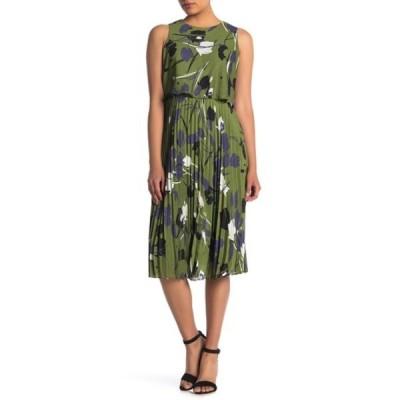 テイラー レディース ワンピース トップス Popover Pleated Skirt Midi Dress (Petite) LEAF