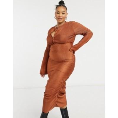 エイソス レディース ワンピース トップス ASOS DESIGN Curve plisse blouson tie long sleeve midi dress with side ruching in rust Ru