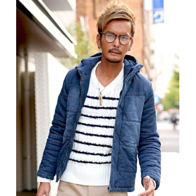 【ラグスタイル】 中綿ジャケット メンズ デニム ジャケット ブルゾン 冬 アウター BITTER ビター系ダウンジャケット ストレッ メンズ ブルー M LUXSTYLE