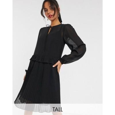 ワイ エー エス Y.A.S Tall レディース ワンピース ワンピース・ドレス smock dress with pleated hem in black ブラック