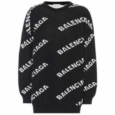 バレンシアガ ニット・セーター Intarsia wool-blend sweater Black/White