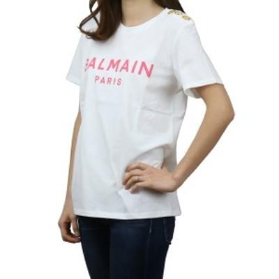 【新品】 バルマン BALMAIN レディース-Tシャツ VF11350 B001 GBY ホワイト系 bos-02 apparel-01 レディース