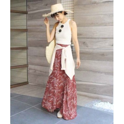 MODE ROBE / リーフ柄フレアロングスカート WOMEN スカート > スカート