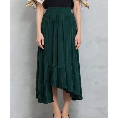 アシメ プリーツ スカート アシンメトリー ウエストゴム 変形ヘム レディース ファッション 着回し 春 夏