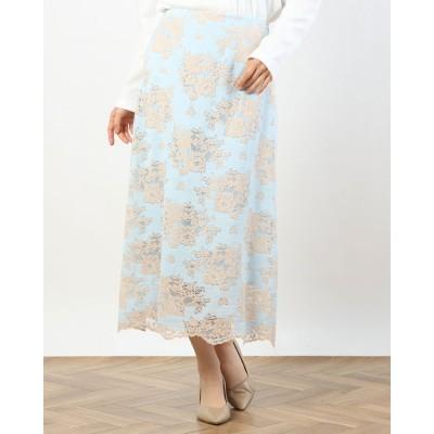 ルゥデ Rewde レースタイトスカート(1R10-03203) (ブルー)