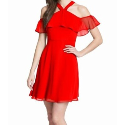kensie ケンジー ファッション ドレス Kensie Womens Dress Red Size 6 Sheath Halter Chiffon Cold Shoulder