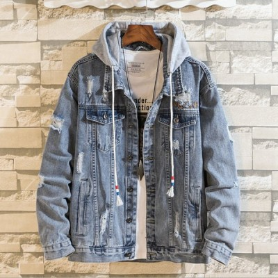 メンズ ジャケット デニムジャケット 帽子付き 帽子外す可能 パーカー jacket 春ジャケット デニムコート