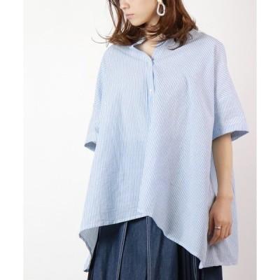シャツ ブラウス 裾Aラインストライプシャツ