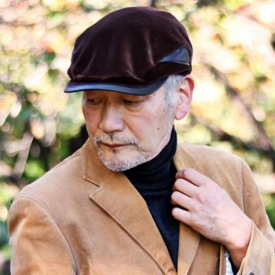 秋 冬 切り替えハンチング 防寒 ベルベット × シープレザー 防寒 KASZKIET メンズ 帽子 ハンチング帽 カシュケット 茶 ブラウン