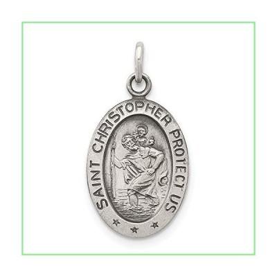 Solid 925 Sterling Silver Vintage Antiqued Catholic Patron Saint Christopher Pendant Charm Medal - 21mm x 11mm 並行輸入品