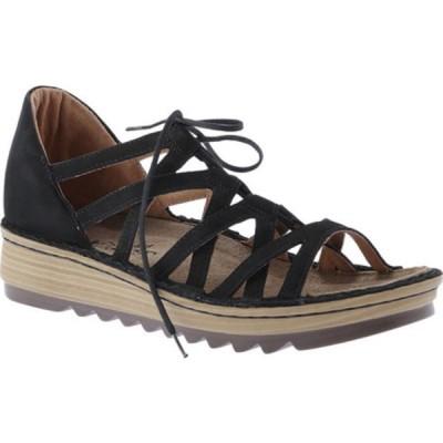 ナオト オックスフォード シューズ レディース Yarrow Wedge Sandal (Women's) Black Velvet Nubuck