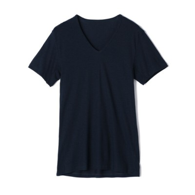 夏の快適インナー ボディクーラー セブンプレミアムライフスタル ボディクーラー メンズ 半袖V首シャツ ネイビー M