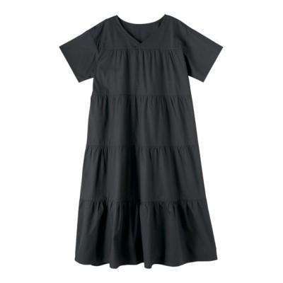 【大きいサイズ】 綿100%ティアードフレアーワンピース(薄手素材)(オトナスマイル) ワンピース, plus size dress