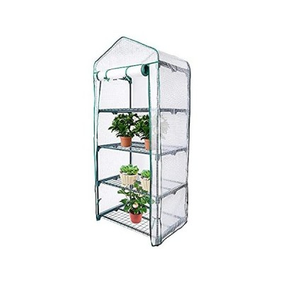 Sfcddtlg 4 Tier Greenhouse Replacement Cover with Roll-Up Zipper Door-PE Wh 並行輸入品