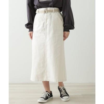 レイカズン Ray Cassin ベルト付セミタイトスカート (生成)