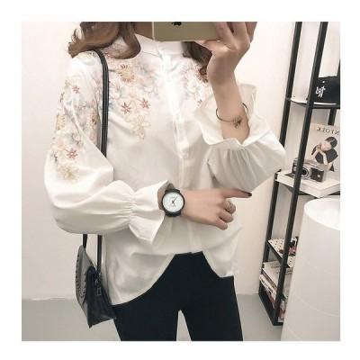 ブラウス刺繍ブラウス刺繍トップス長袖シャツ白ホワイト花柄刺繍袖フリルゆったり可愛い森ガールwcs1