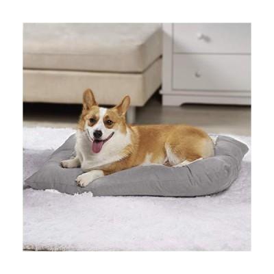 Zerohub ペットベッド ペットクッション 洗える 耐噛み 犬用ベッド 角型 (60×45cm, ライトグレー)