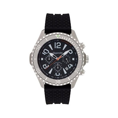 Gigandet Men's Quartz Watch Aquazone Chronograph Analogue Silicone Strap Black Silver G23-002 並行輸入品