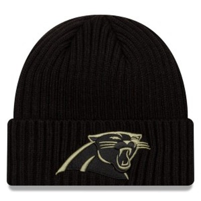 ニューエラ メンズ 帽子 アクセサリー Carolina Panthers New Era 2020 Salute to Service Cuffed Knit Hat Black