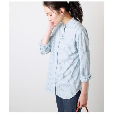 シャツ ブラウス コードストライプ バンドカラーシャツ
