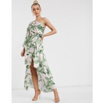 シグニフィカント アザー Significant Other レディース ワンピース caspian tropical leaf one shoulder maxi dress in tropical トロピ