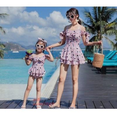 母娘水着 リボンパターン レディースビキニ 旅行 キッズ水着 撮影記念 キッズ かわいい水着 親子水着 おしゃれ 海水浴 ビーチ ブール