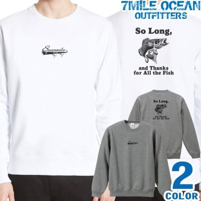 メンズ トレーナー トップス スウェット スエット 長袖 大きいサイズ 7MILE OCEAN バック 背面 プリント アメカジ フィッシング