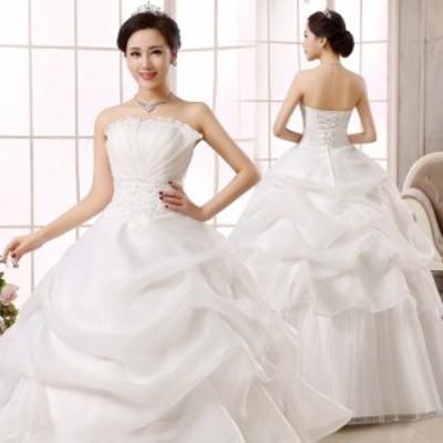 ウエディングドレス 二次会 ステージドレス 結婚式 ロングドレス ビーチドレス 発表会 撮影 白 ホワイト レッド 大きいサイズ