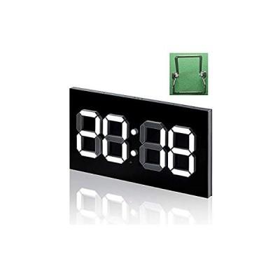 プラスチックデジタル目覚まし時計3D LEDの仕事日の無言のオフィスの壁時計、調光対応の温度表示の台所家の現代装飾の常夜灯(ブラケットを含む),A