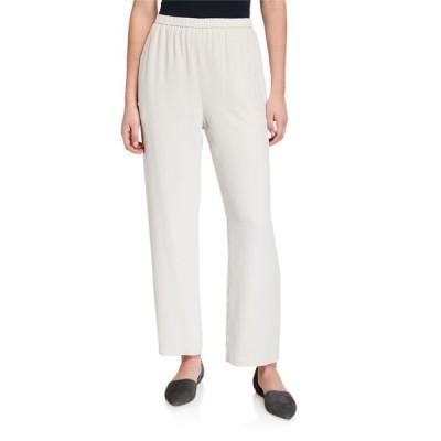 エイリーンフィッシャー レディース カジュアルパンツ ボトムス Petite Straight-Leg Silk Georgette Crepe Ankle Pants