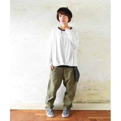(and it_/アンドイット)裾タックゆるワイドプルオーバー/レディース オフホワイト