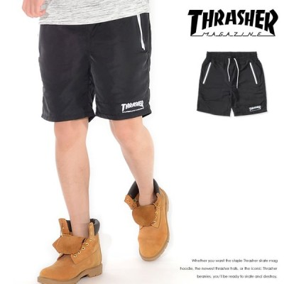 THRASHER スラッシャー ショートパンツ ハーフパンツ 左裾ライン MAGロゴ刺繍 *(TH6036) セール