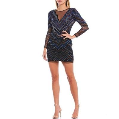 エイダン?エイダン?マトックス レディース ワンピース トップス Illusion V-Neck Chevron Beaded Mesh Mini Sheath Dress Black Multi